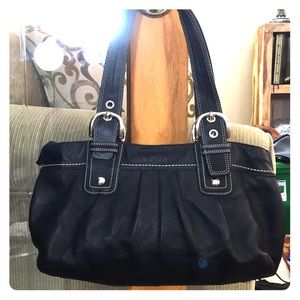 💕 Coach black leather large satchel cute 💕